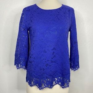 Banana Republic Lace Bell Sleeve Top Blue Small